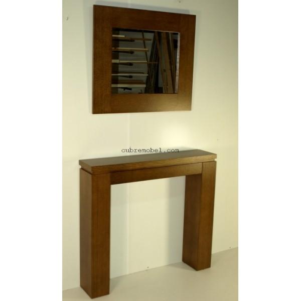 Mueble recibidor a medida , fabricado en chapa de roble color nogal