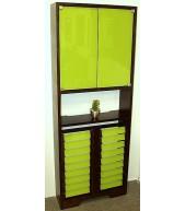 Cubreradiador mod. Estantería 2p. teñido en color wengue, cristales verde pistacho.